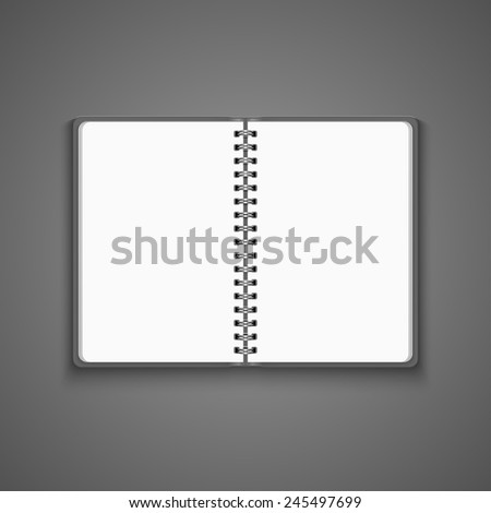 Vector Realistic Blank Open Notebook Isolated on White Background. Spiral Notepad, Mock Up  - stock vector