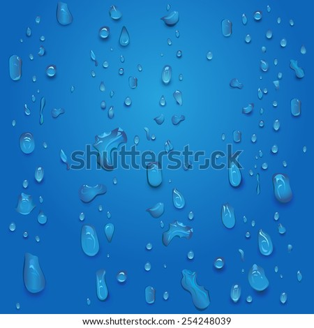 vector realistic blue water drops - stock vector