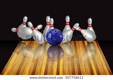 Vector realistic bowling illustration on dark background. Bowling strike.