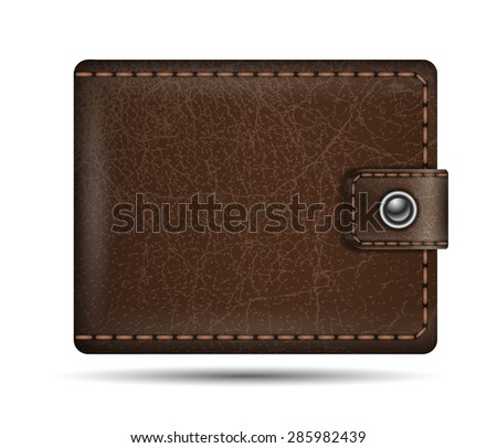 Vector realistic brown leather wallet - stock vector