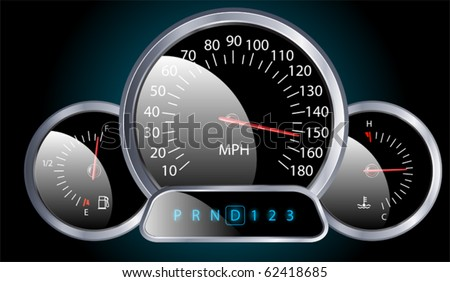 vector realistic car dashboard speedometer - stock vector