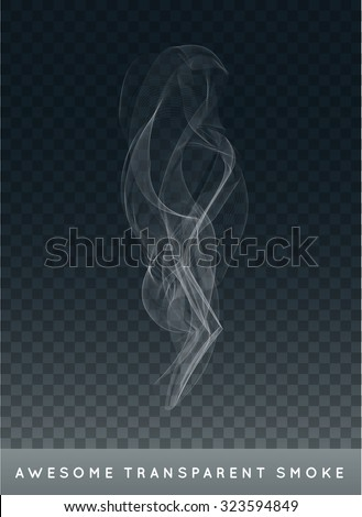 Vector Realistic Cigarette Smoke or Fog or Haze with Transparency Isolated can be used with any Background - stock vector