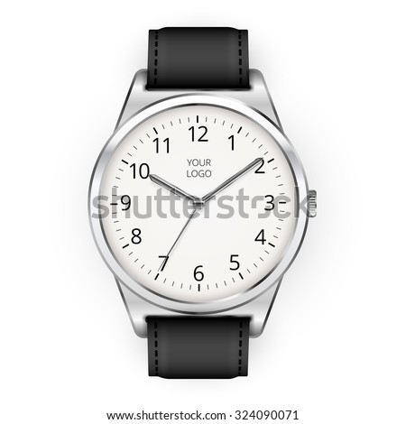 Vector realistic classic watch on a white background - stock vector