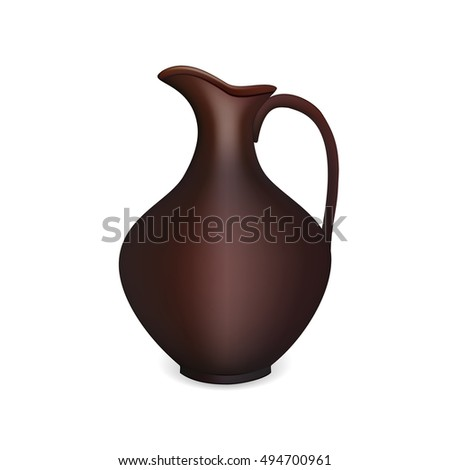 Vector realistic clay pitcher for water, milk, wine or any other liquid.
