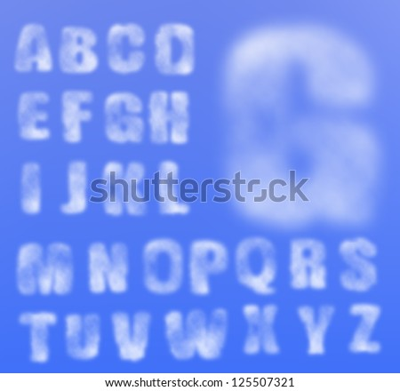 Vector realistic cloudy alphabet, easy to put on any background, sky. Gradient mesh used. - stock vector