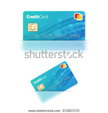 Vector realistic credit card in a translucent pocket