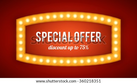 Vector realistic 3D light background. Retro design element  frame glowing with lamps for your Template, Advertising, Promotions. - stock vector