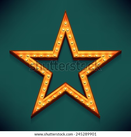 Vector realistic 3d volumetric icon on marquee sign five pointed star frame lit up with electric bulbs | Retro looking wall presentation design golden star symbol glowing with lamps  - stock vector