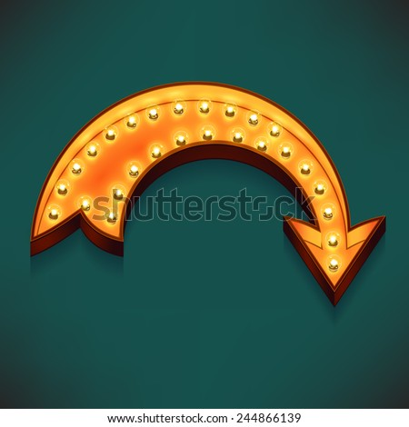Vector realistic 3d volumetric icon on marquee symbol bend arrow lit up with electric bulbs | Retro looking presentation design element rotate arrow glowing with lamps  - stock vector