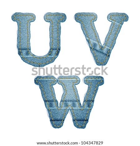 Vector Realistic Denim abc. Jeans characters with seams and rivets on white - stock vector
