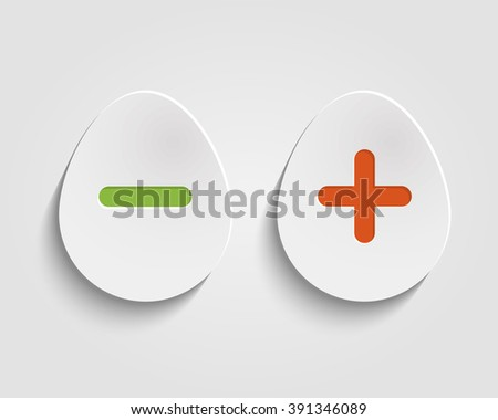 Vector realistic egg buttons Vector add, cancel, or the plus and minus signs on buttons in form egg icons isolated on white background - stock vector