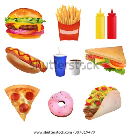 Vector Realistic fast Food Set. Burger, Pizza,Taco, Beverage, Coffee, French Fries, Hot Dog, Sandwich, Donut, Ketchup, Mustard. Isolated On White background - stock vector