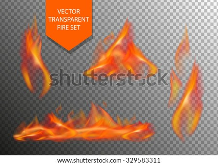 Vector realistic fire transparent special effect element. Hot flame spurts. Campfire. Burn fire. Heat overlay. Vector fire. Vector flame. Fire elements, decoration flame effect. - stock vector