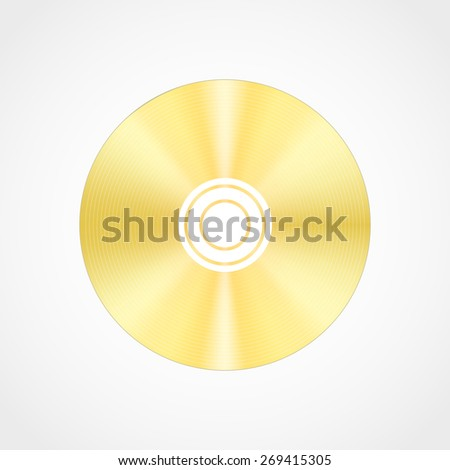Vector realistic  gold blank compact disc CD or DVD isolated on a white background with shadow.Template - stock vector