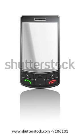 Vector realistic illustration of a black PDA with black buttons - stock vector