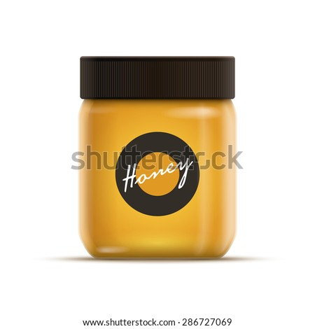 Vector realistic illustration of honey or jam jar. All elements are layered separately in vector file. Product color is global color. Easy editable. CMYK mode. Print ready.  - stock vector