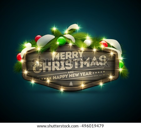 Vector realistic illustration of wooden Christmas and New Year message board. Elements are layered separately in vector file.