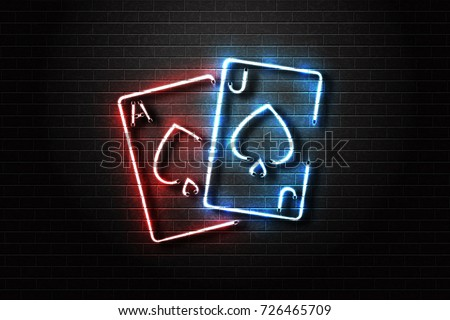 Vector realistic isolated neon sign for Blackjack cards for decoration and covering on the wall background. Concept of casino and gambling.