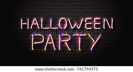 vector realistic isolated neon sign of halloween lettering for decoration and covering on the wall background
