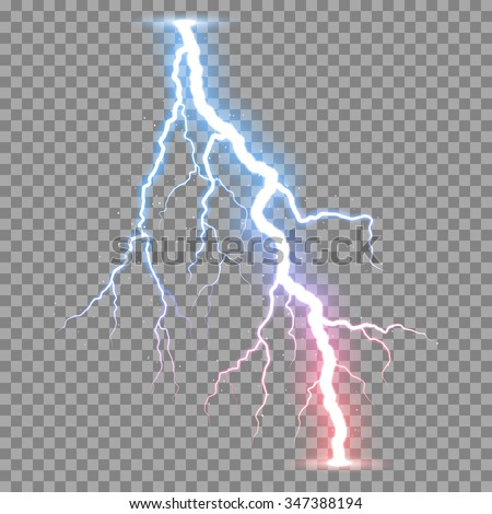 Vector Realistic Lightnings Thunderbolt On Transparent Background