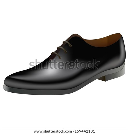 vector realistic male black shoe, isolated object on a white background - stock vector
