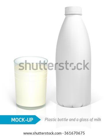 Vector realistic milk glass and white plastic bottles for dairy products, juice or milk. Mock-up packages - stock vector