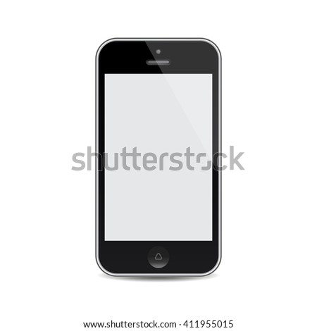 vector realistic mobile phone with blank screen isolated on white background. EPS - stock vector
