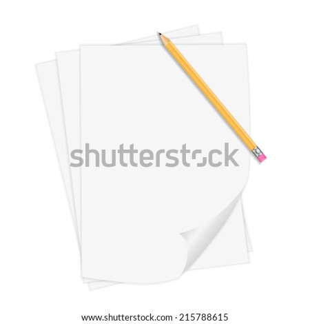 Vector Realistic Notepaper With Pencil - stock vector