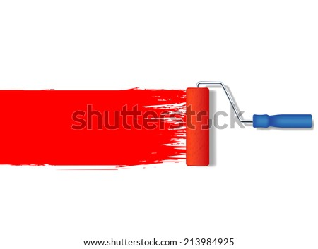 vector realistic paint roller painting a red line - stock vector