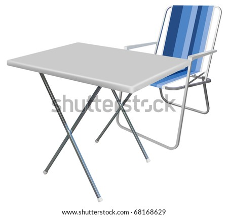 vector realistic picnic chair and table on white background