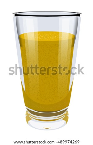 Vector realistic portrayal of high glass cup with yellow smoothies. Healthy eating right. Vegan breakfast. Balanced vegetarian diet food. Illustration of natural food.
