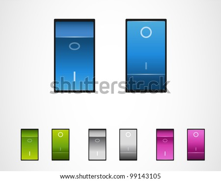 Vector realistic power switch on off. Toggle power switches. - stock vector