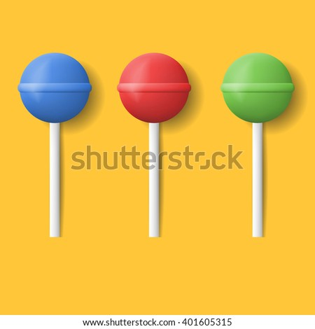 Vector realistic set icons lollipop. Colorful lollipops with shadow. Sweet candy set. - stock vector