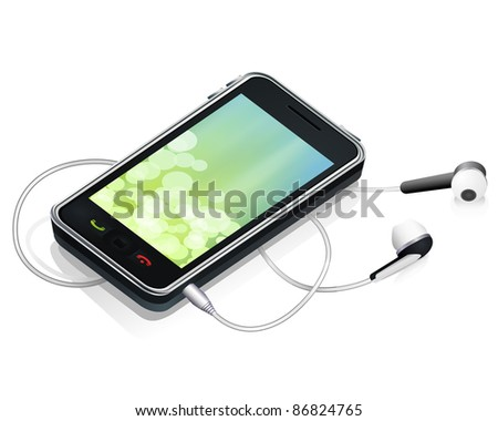vector realistic smart phone with earphones - stock vector