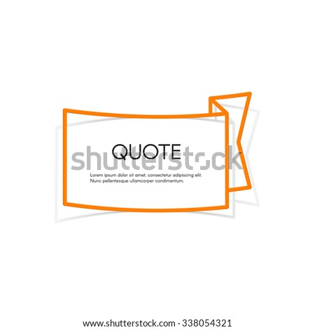 Vector realistic sticker. Quote blank template. - stock vector