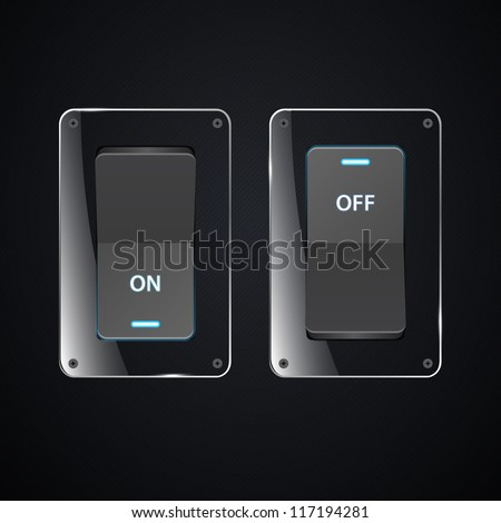 Vector realistic switch. ON and OFF positions. eps 10 - stock vector
