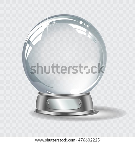 Vector realistic transparent snow globe on a light abstract background