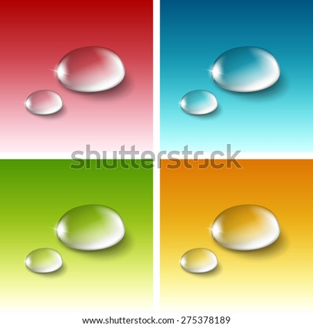 Vector Realistic Water Drops Set Isolated on Red Blue Yellow Green White Background - stock vector