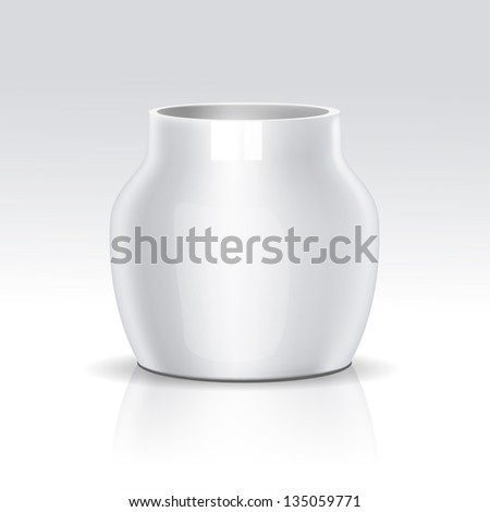 Vector Realistic White Bowl - stock vector