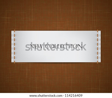 Vector realistic white label sewed to a fabric textured background. EPS10 image. - stock vector