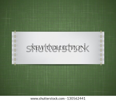 Vector realistic white label sewed to a fabric textured background. EPS10 vector image. - stock vector