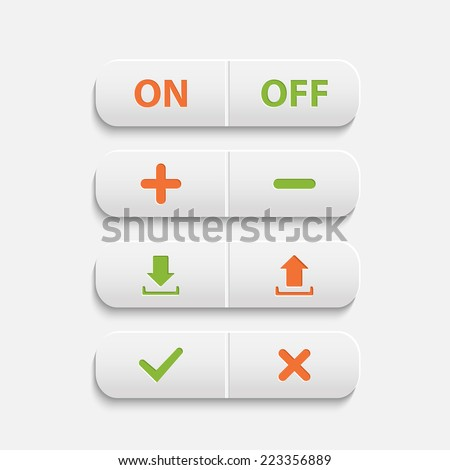 Vector realistic  white web buttons :on ,off,plus,minus, add, cancel, download and send the arrow marks,Yes, No checkmark over white - stock vector