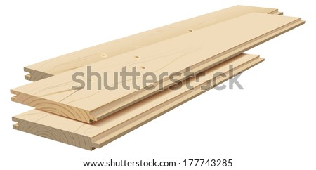Vector Realistic Wooden Planks On White Background, Gradient Mesh Used, Raster Image Available - stock vector