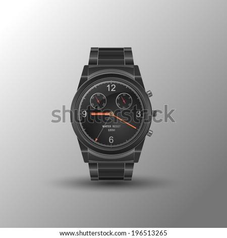 vector realistic wrist watch - stock vector