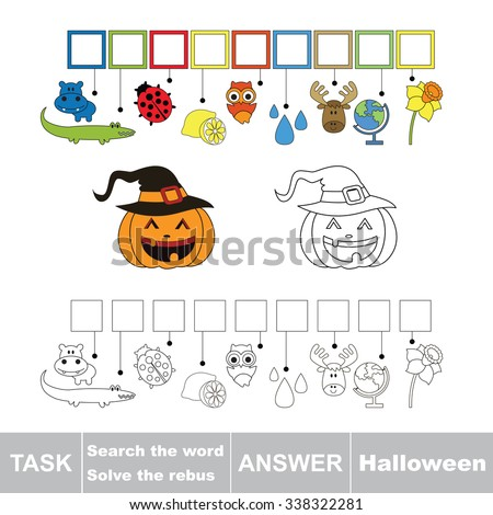 Vector rebus game. Solve the rebus and find the word halloween. Task and answer.
