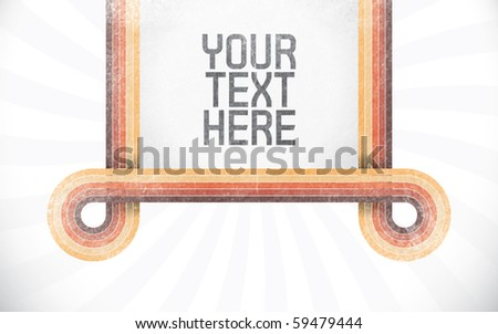 Vector rectangle for text, five color lines as frame with grunge effect and sunburst effect on background. Fully editable, grunge effect made with opacity mask. - stock vector