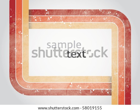Vector rectangle for text, three color line as frame with grunge effect - stock vector