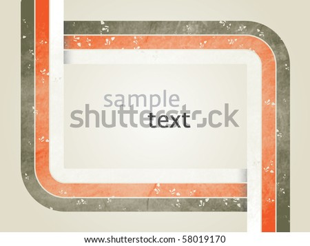 Vector rectangle for text, three color line as frame with grunge effect with brown background