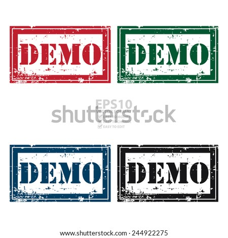 Vector : Rectangle Grunge Style Demo Icon, Rubber Stamp or Label Isolated on White Background  - stock vector
