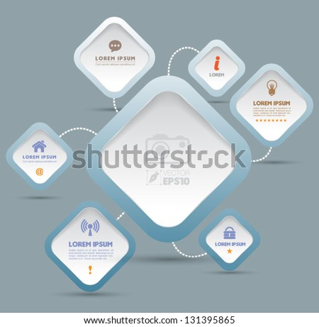 Vector rectangles with business icons   / can use for info-graphic / loop business report or plan / modern template / education template / business brochure /  system diagram - stock vector